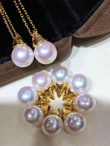 Japanese akoya pearl gold necklace