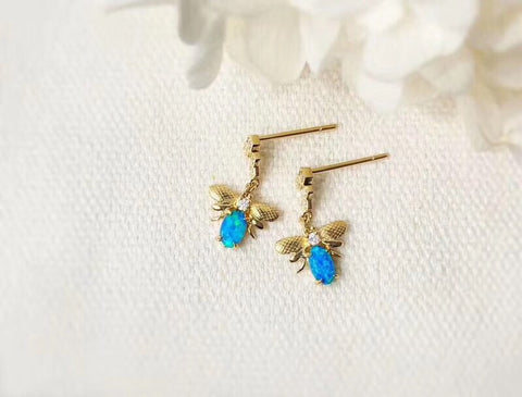 18k gold blue opal diamond honey bee earring - Xingjewelry