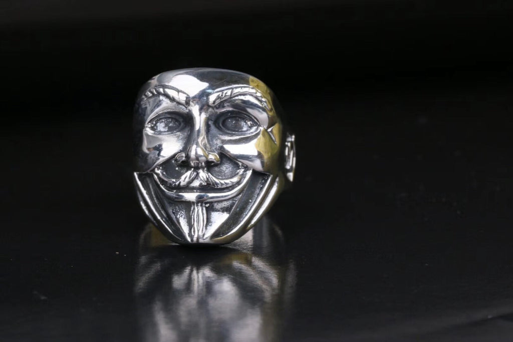 925 sterling silver V for vendetta mask ring