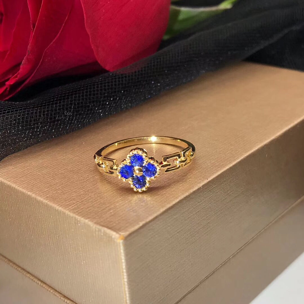 18k gold blue sapphire stone ring - Xingjewelry