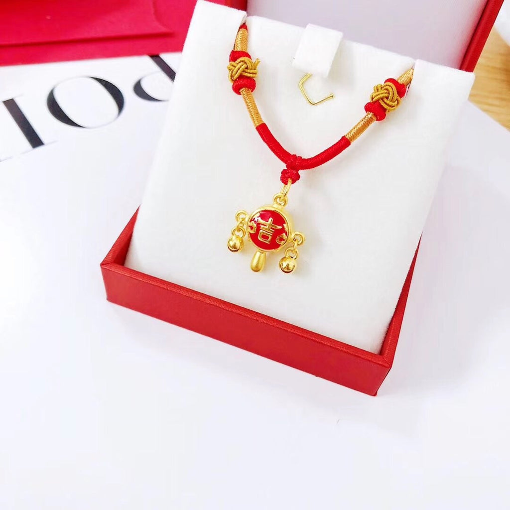 18k gold peace pendant red rope necklace - Xingjewelry