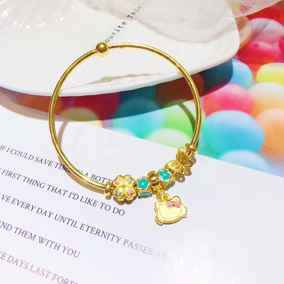 Solid gold kitty charm bracelet