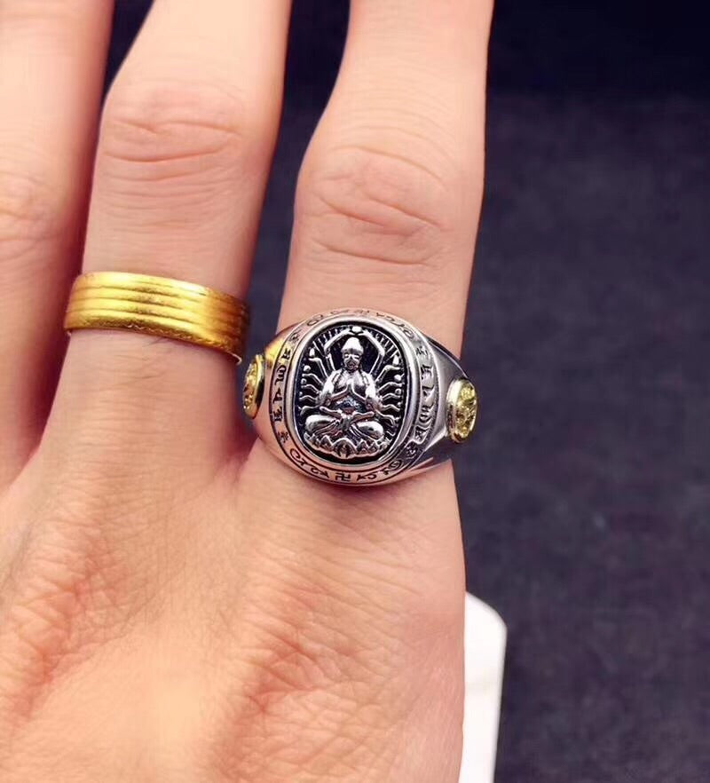 Sterling silver protect Buddha pen ring