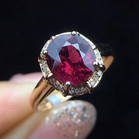 18k gold red tourmaline stone - Xingjewelry