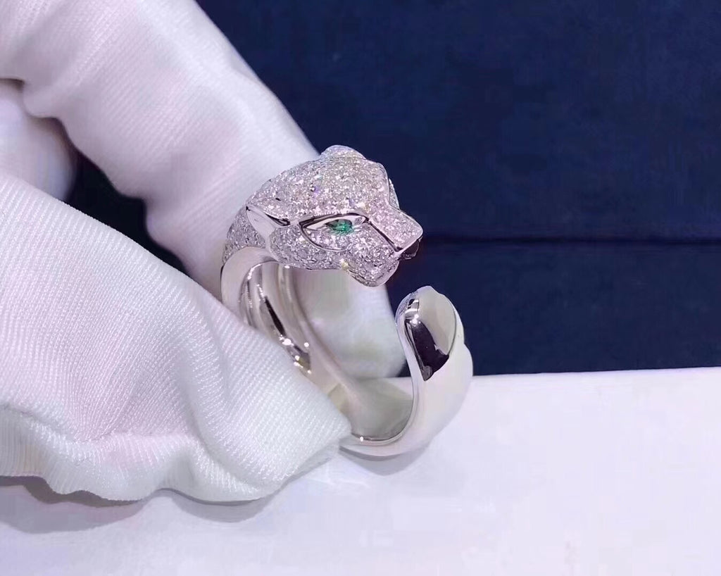 925 sterling silver leopad diamond ring