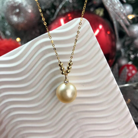 18k gold beige pearl pendant necklace - Xingjewelry
