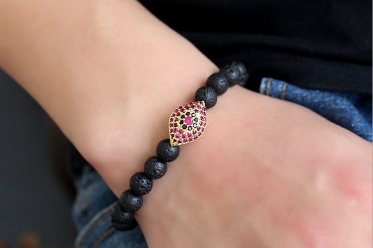 Lava stone diamon eye beaded elastic hot selling bracelet