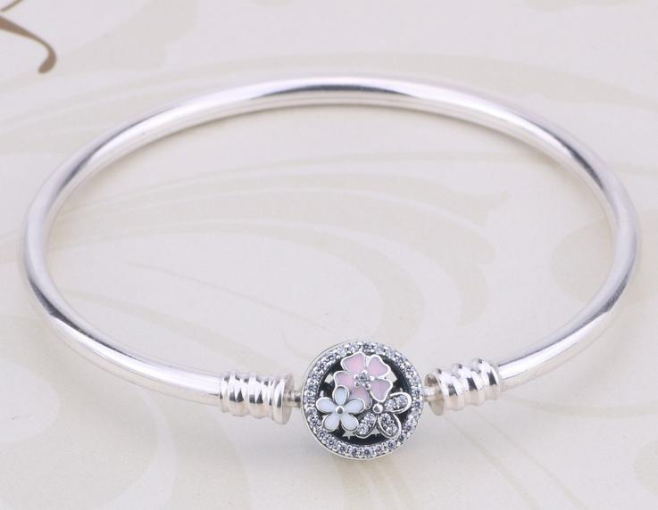 pandora magnolia flower bracelet bangle