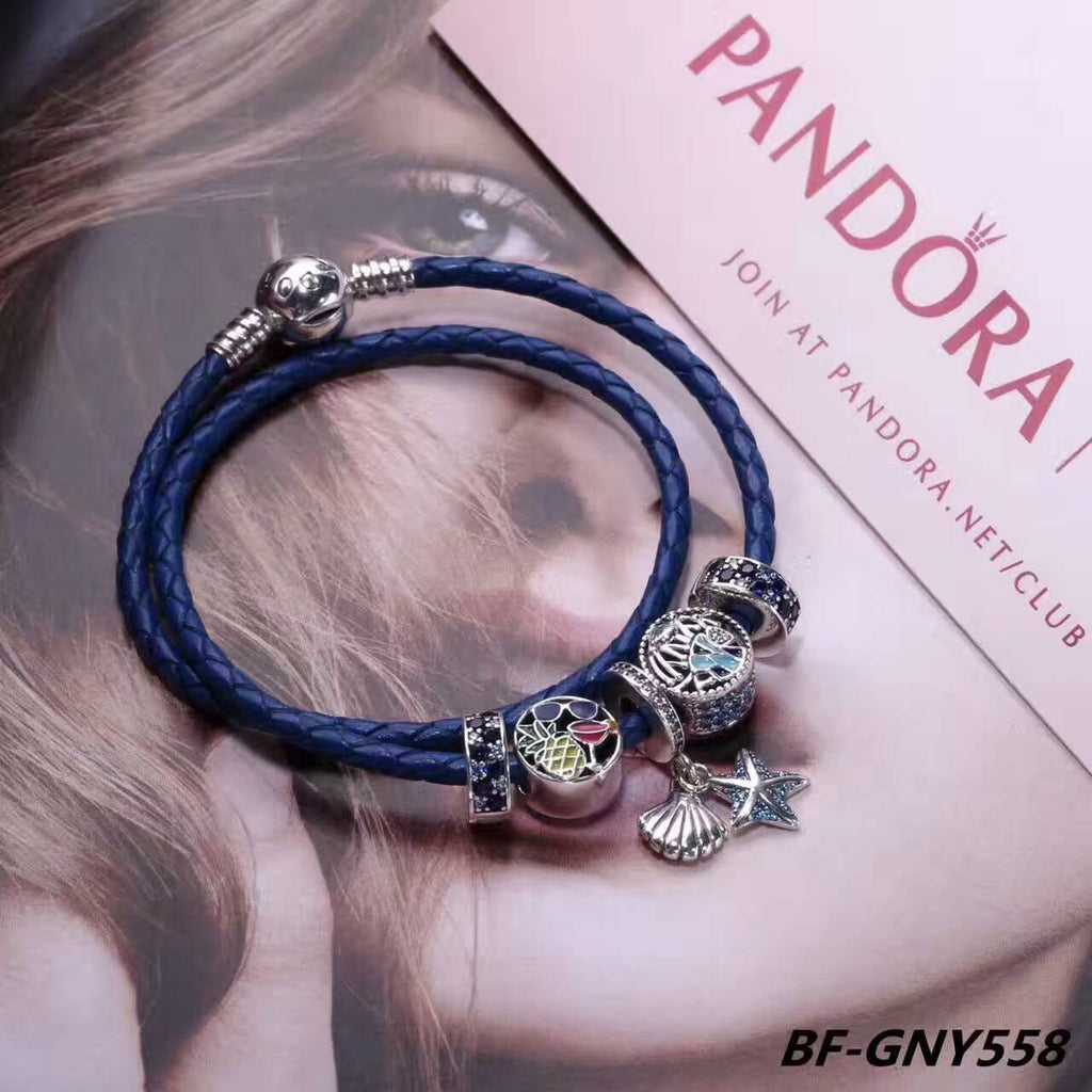 pandora blue leather charm bracelet 5 pcs charms