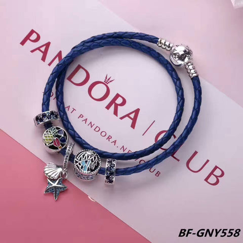 Pandora leather bracelet with charms - Xingjewelry