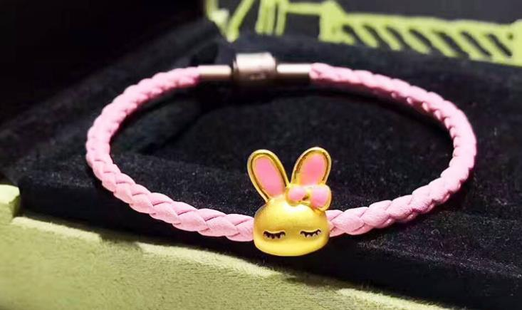 leather bracelet with 24k pink bunny charm - Xingjewelry