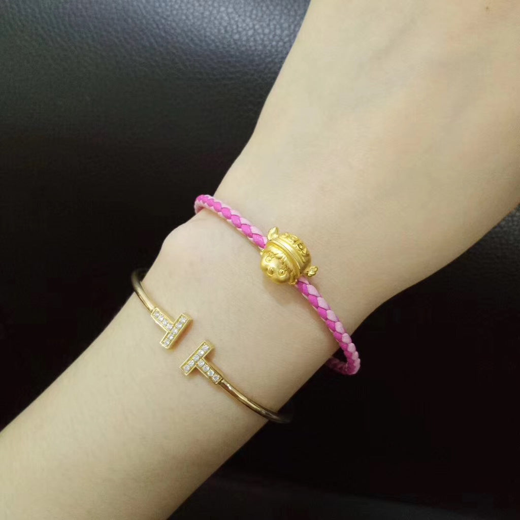 24k pure gold smiling cute girl charm bracelet - Xingjewelry