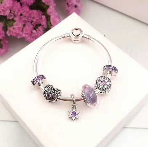 pandora purple theme 7 pcs charm bracelet