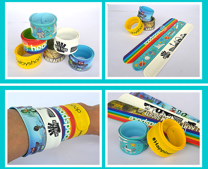 children play PVC snap bracelet slap wristband 5pcs