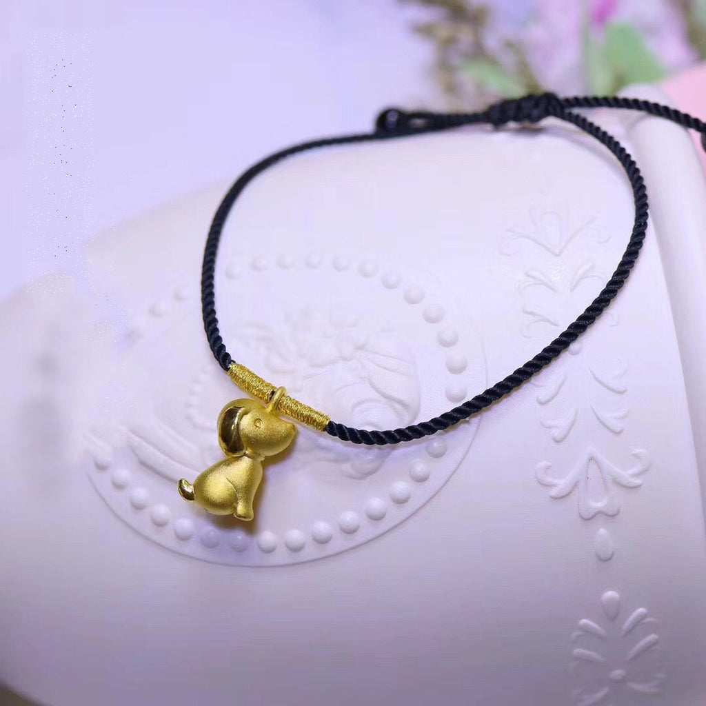 24k pure gold dog charm bracelet - Xingjewelry