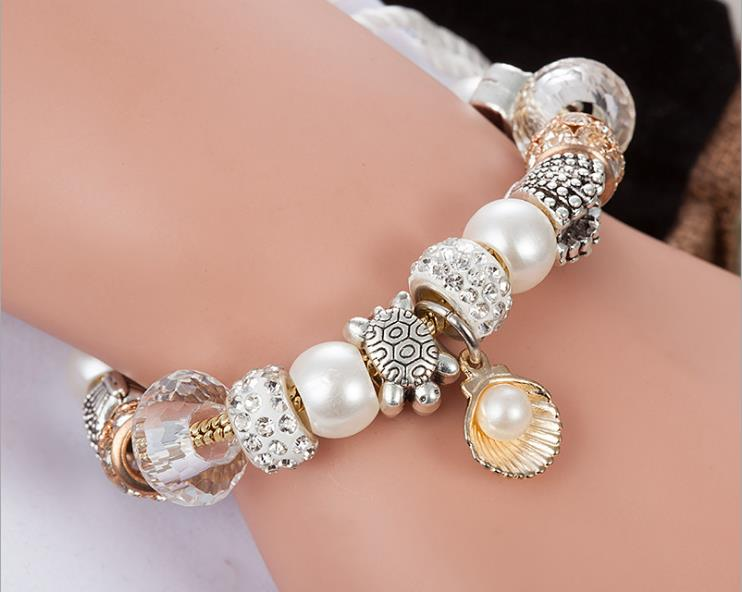 rose gold sea shell pearl turtle european charm bracelet - Xingjewelry