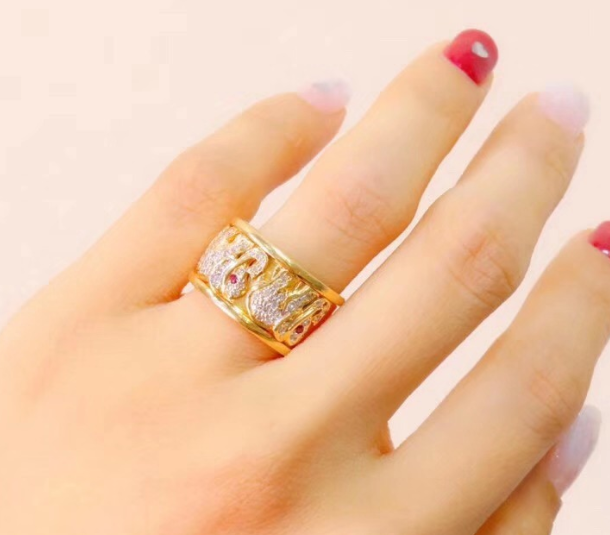 18K gold ruby diamond life ring 18K 金红宝石钻石戒指