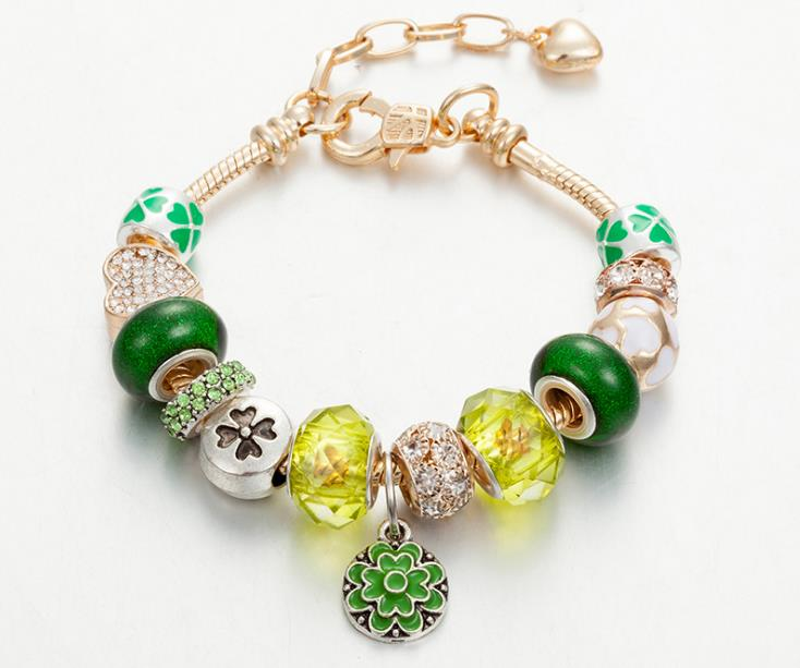 european charm bracelet spring green flower charms rose gold - Xingjewelry