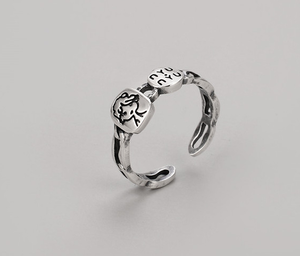 925 sterling silver open printing ring