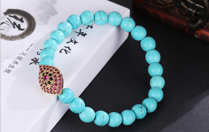 Turquoise rose diamond eye beaded elastic bracelet