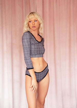 Glen Plaid Hip Hugger Panty with Ruffle Trim in Black