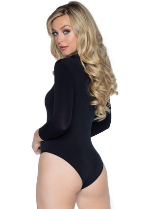 High Neck Long Sleeve Bodysuit in Black