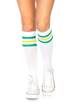 Athletic Knee High Striped Tube Socks in Green and Yellow