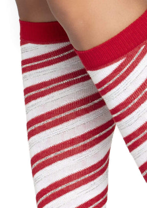 Candy Cane Knee High Socks