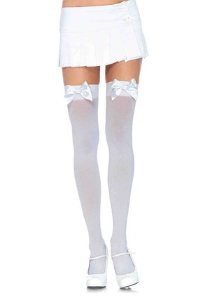 Opaque Thigh High Stockings in White with White Bows