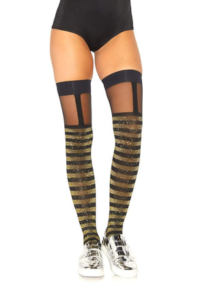 Thigh High Stockings in Black with Gold Sparkle Striped Lurex and SheerTop