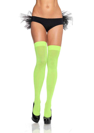 Opaque Thigh High Stockings in Neon Green