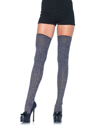 Thigh High Stockings in Heather Grey Knit