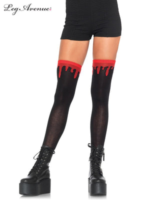 Thigh High Socks with Dripping Blood in Black