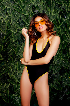 Heatwave Highcut Halter One Piece with Contrasting Trim