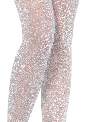 Glitter Shimmer Tights in Silver and White
