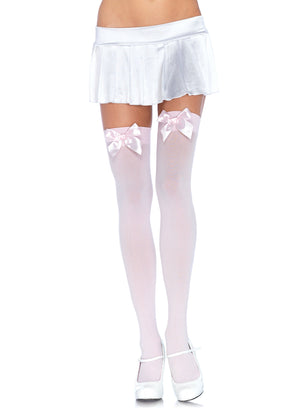 Opaque Thigh High Stockings in Pink with Pink Bows