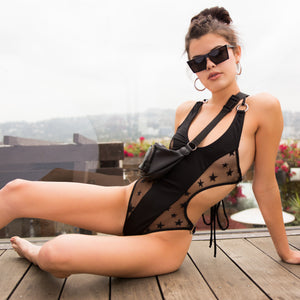Heatwave Ring Onepiece Swimsuit in Black Star Mesh