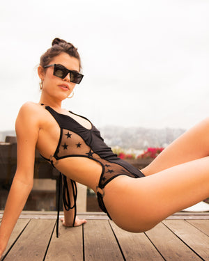 Heatwave Ring Monokini in Black Star Mesh