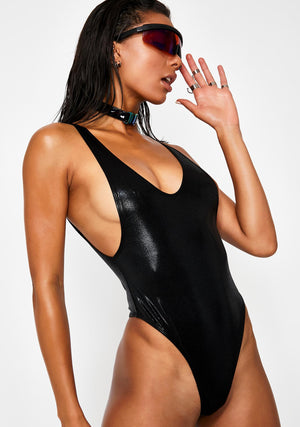 Hologram Highcut Sideboob One Piece Swimsuit in Black Wetlook Hologram