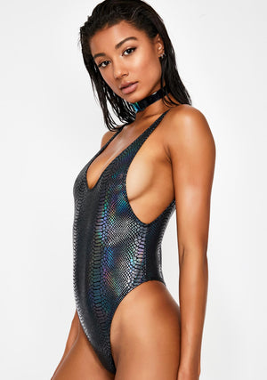 Hologram Highcut Sideboob One Piece Swimsuit in Black Snakeskin