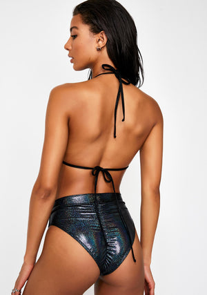 Hologram Highcut Triangle Bikini in Gunmetal