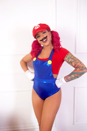 Gaming Bros Blue Pin-Up Overalls Set w Red Crop Top