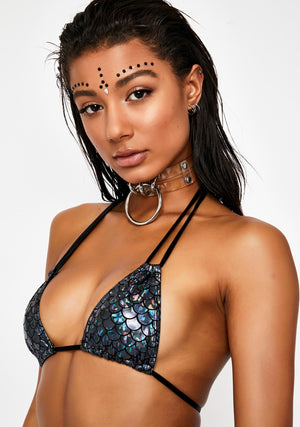 Hologram Double Strap Bikini in Mermaid Hologram