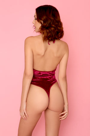 Crushed Velvet High Cut Halter Bodysuit in Burgundy