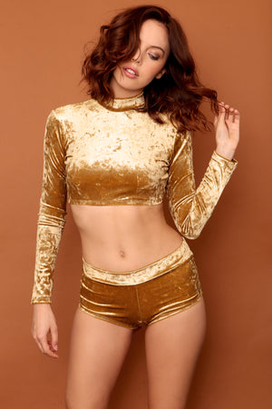 Gold Metallic Velvet Set