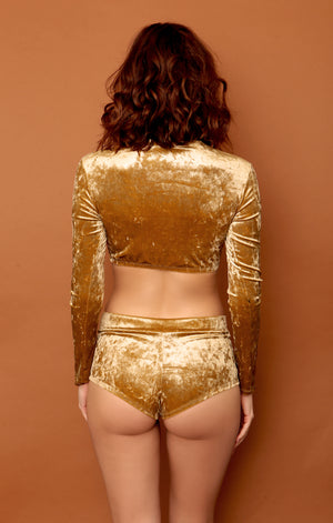 Gold Metallic Velvet Highwaist Cheeky Shorts