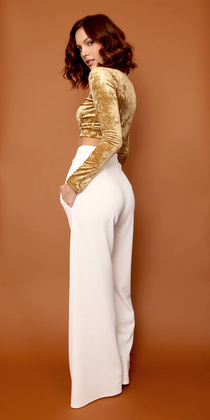 Retro Highwaist Wideleg Trousers in Ivory