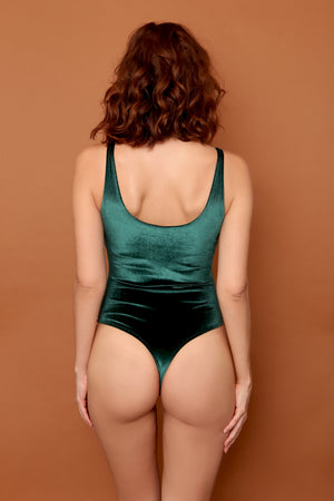 Plush Velvet Scoopneck Bodysuit in Forest Green