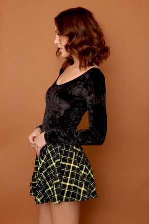 Retro Plaid Flirty Circle Skirt in Black and Yellow