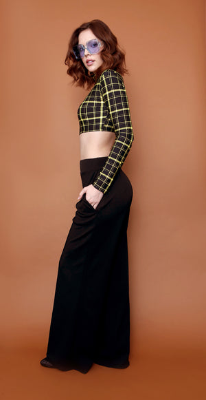Retro Highwaist Wideleg Trousers in Black